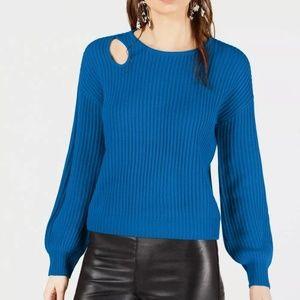 Bar III Blue Balloon Sleeve Cutout Sweater